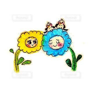 花,鳥,イラスト,葉っぱ,絵,青い花,黄色の花,茎,笑顔,可愛い,好き,ほっこり,小鳥,表情,漫画,二羽,ニコニコ,寄り添う,スケッチ,2本,曲線,2,図