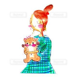 猫を抱っこする女性イラストの写真・画像素材[4662712]