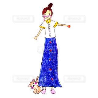 猫,夏,ピンク,笑顔,シャツ,表情,スリッパ,アレンジ,漫画,ニコニコ,猫の顔,スケッチ,ロングスカート,半袖,人の顔,図,ジーンズ生地,嬉しそうな顔,お団子アレンジ