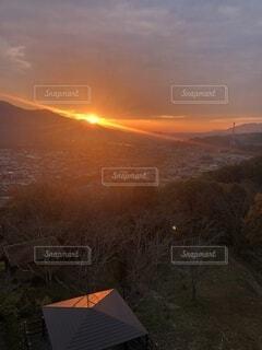 自然,屋外,山,登山,展望台,夕陽,ハイキング,サンセット