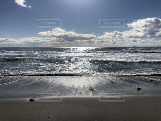 自然,海,空,屋外,砂,ビーチ,雲,波,水面,海岸