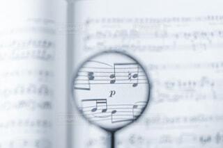 ピアノ,楽譜,音楽,ブルー,ボケ,ホワイト,虫眼鏡,譜面,ボヤけ,音楽記号