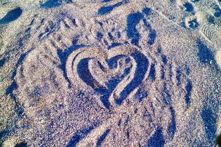 海,砂浜,ハート,手書き