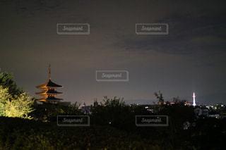 夜景,京都,観光,祇園,五重の塔