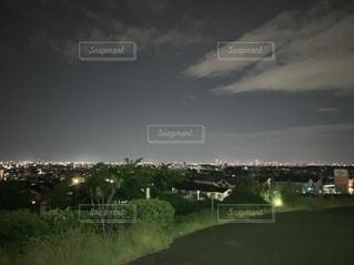 木々が背景に広い大きな緑のフィールドの写真・画像素材[2767881]
