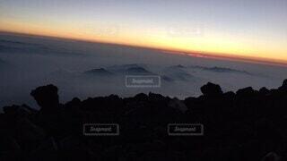 自然,空,富士山,屋外,雲,夕暮れ,虹,霧,山,山頂,日の出,日出