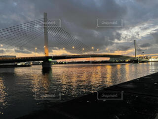 海,橋,朝焼け,朝