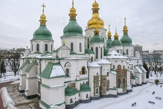 空,建物,雪,屋外,世界遺産,教会,大聖堂,世界文化遺産,ヨーロッパ旅行,ウクライナ,インスタ映え,バスティオン,聖ソフィア大聖堂,キエフ
