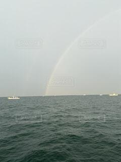 自然,風景,海,空,屋外,湖,ボート,虹,船,水面,水上バイク