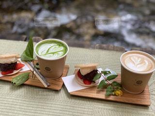 カフェ,コーヒー,川,ドリンク