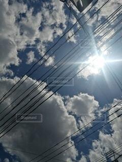空,屋外,雲,煙,くもり,ライン,電線路,電源供給