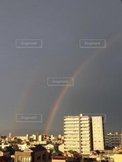風景,雨,虹,レインボー,幸せ,雨上がり,梅雨,幸福,奇跡,ダブルレインボー,キレイ,梅雨明け,気配