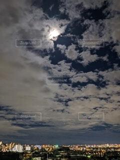 自然,風景,空,夜景,屋外,雲,滝,月,満月,中秋の名月,お月見,満月の夜
