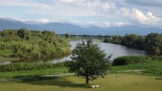 自然,風景,空,屋外,雲,川,水面,山,草,樹木,月