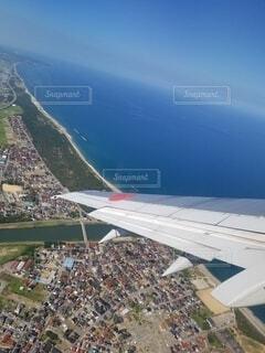 自然,海,空,屋外,飛行機,地上,空から見た景色