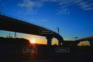 空,橋,太陽,青空,朝焼け