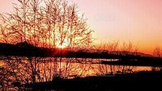 河原の夕焼けの写真・画像素材[4882579]