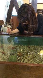 女性,夏,観光,癒し,旅行,奈良,大和郡山,金魚サイダー,金魚カフェ,金魚の水槽テーブル,金魚鉢器