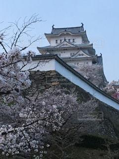 大規模な石造りの壁の近くの塔を持つ建物の写真・画像素材[1122064]