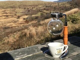 山の上でコーヒーを楽しむの写真・画像素材[4694086]