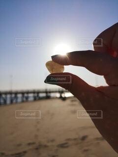 ビーチで拾った石の写真・画像素材[4747496]