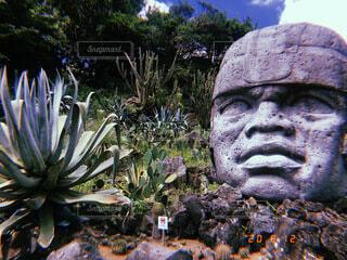 オルメカの巨石人頭像の写真・画像素材[4745725]
