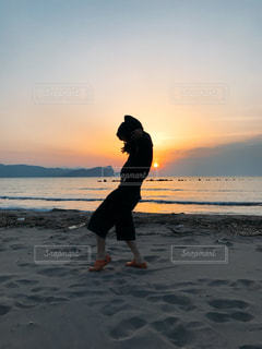 海,空,夕日,雲,青,砂浜,夕焼け,オレンジ,蘭島
