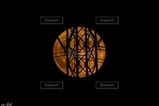 満月と鉄塔コラボの写真・画像素材[4756539]