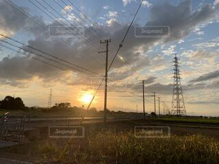 田舎の夕焼けの写真・画像素材[4820373]