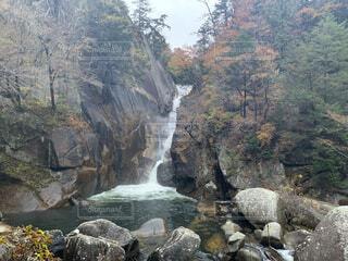 紅葉に囲まれた滝の写真・画像素材[4762188]
