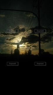 空,屋外,太陽,雲,夕暮れ,暗い,樹木