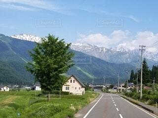 風景,空,屋外,雲,道路,山,草,樹木,道