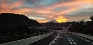 空,橋,雲,夕焼け,水面,反射