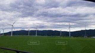 空,屋外,緑,風車,草,くもり,景観,風力タービン,ウィンドファーム