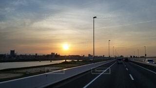風景,空,夕焼け,夕暮れ,道