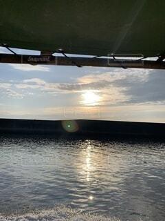 海,空,雲,船,水面,日の出,有明海