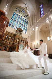 結婚式,教会,ツーショット
