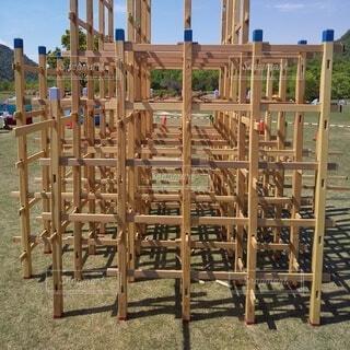 組立式木製ジャングルジムの写真・画像素材[4774313]