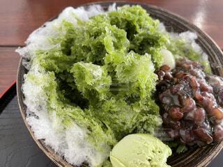 抹茶と小豆のかき氷の写真・画像素材[4787078]
