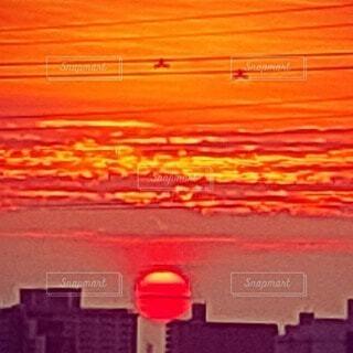 空,屋外,太陽,朝日,オレンジ,朝焼け,日の出,朝陽