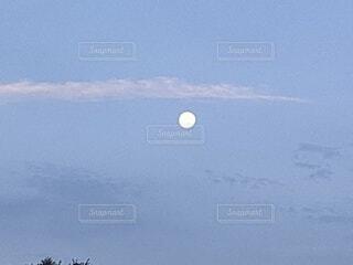 自然,空,屋外,夜明け,月,満月,朝の月