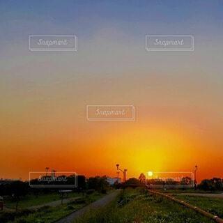 風景,空,夕日,屋外,太陽,夕焼け,夕暮れ,オレンジ,草,樹木,夕陽,夕景,サンセット,ノスタルジック,朱色,夕暮れ時,夕焼け空,夕刻,日没前,設定