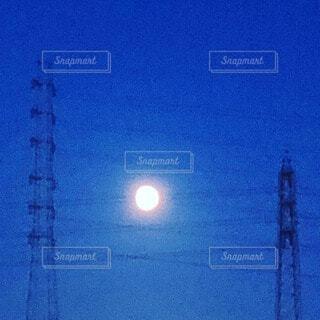 自然,空,夜,夜空,屋外,月,高圧線