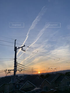 空,夏,夕日,絶景,屋外,綺麗,展望,夕方,景色,美しい,飛行機雲,夏休み,9月,夕立,夏の思い出