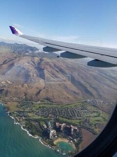 空,屋外,飛行機,水面,旅行,ハワイ,グアム,空中,オアフ島,航空機,地図,陸