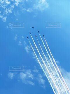 空,屋外,雲,青,飛行機,飛ぶ,航空機,航空ショー