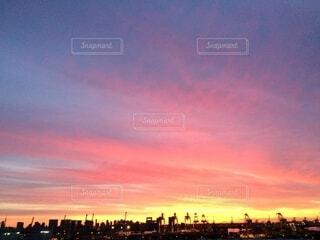 空,屋外,雲,夕暮れ,高層ビル,日の出