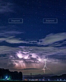 自然,空,夜,屋外,雷,嵐