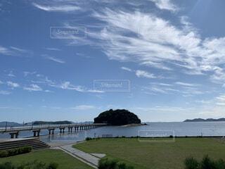 風景,海,空,屋外,雲,島,水面,海岸,景色,草,竹島