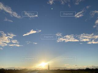 空,夕日,太陽,夕方,景色,光